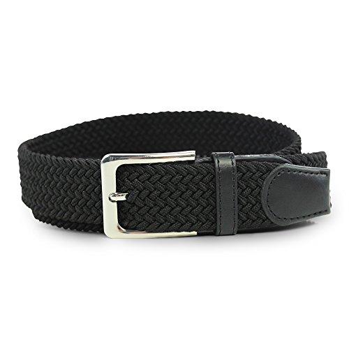 Cintura intrecciata elastica, comoda cintura elasticizzata, in tessuto, intrecciata con pelle pu per uomo e donna nero  90 b.w. = lunghezza totale 105 cm.