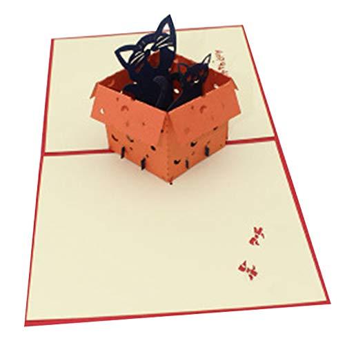Bontand 3D Pop Up Comic-Karten Handgemachte Versteckte Im Kasten Lachen Katze Papier Einladung Karten Mit Umschlag Geburtstag Familie Meeting Kreativen Geschenk