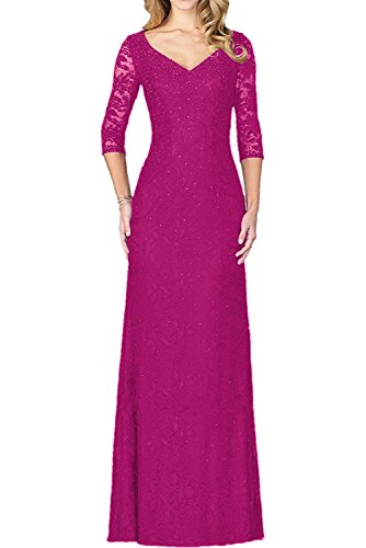 Milano Bride elegant Aermellang Spitze Etui-kleider Damen Abendkleider Cocktailkleider Ballkleider Bodenlang Neu Fuchsia
