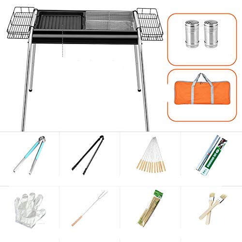 GL-Home blackBarbecue Grill Edelstahl BBQ Holzkohlegrill Raucher Barbecue Folding Portable für Outdoor Kochen Camping Wandern Picknicks Backpacking - Grill-gas-portable Bbq