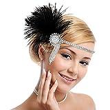 MWOOT Flapper Fascia 1920s Copricapo Great Gatsby Accessori Feather Headband, Fascia Anni 20 Cerchietto per Capelli Cocktail Party Accessori per capelli per le Donne