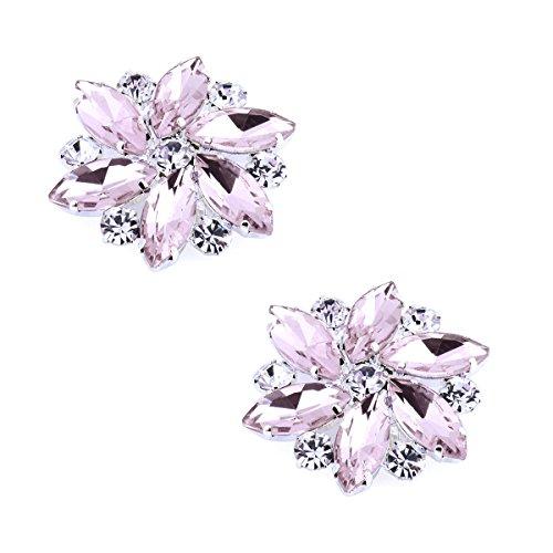 Elegantpark AJ Damen Passenden Fashion Tanzschuh Party Schuhe Clutch Tasche Hat Kleider Strass Pink Schuh clips 2 Stück