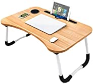 Folding Bed Laptop Table Tray Lap Desk Notebook Stand with ipad Holder Cup Slot Adjustable Anti Slip Legs Foldable for Indoo