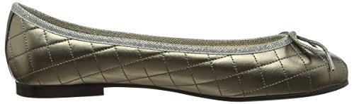 French Sole Henrietta Patent Quilt, Closed Toe Ballet Flat femme gris (Pewter)