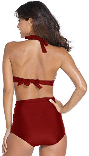 EasyMy Vintage Bademode mit Faltenwurf Hohe Taille Bikini Set Weinrot
