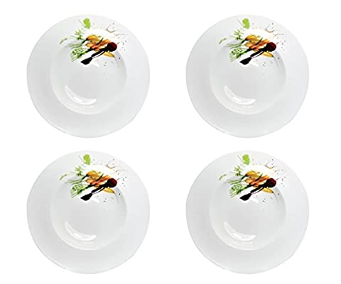 Pasta Noodle Soup Plate White 30cm Deep Plate Plates Crockery Dinner Set 246Porcelain Pasta Spaghetti Salad Plate; Multi-color Limited Collectors Black Librum Flyer Möhre/Rote Beete (4 Stck.)