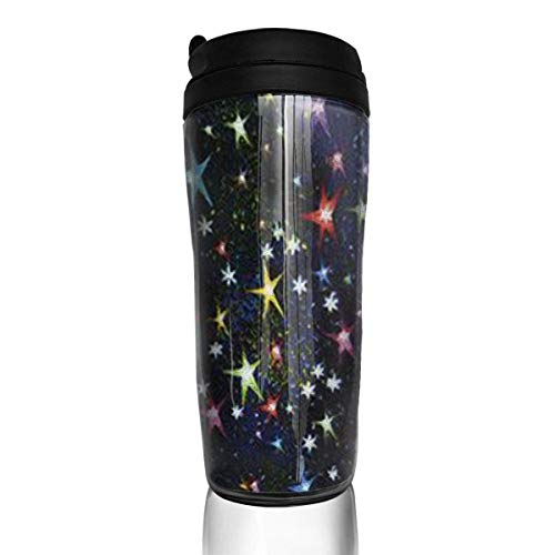Travel Coffee Mug Colorful Stars 12 Oz Spill Proof Flip Lid Water Bottle Environmental Protection Material ABS