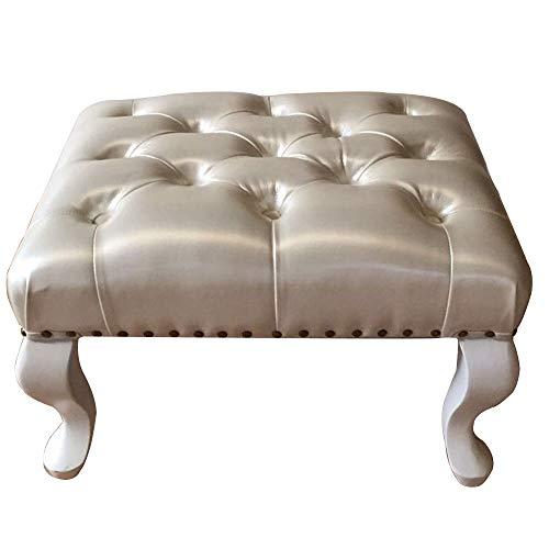 ZR- Tabouret Canapé Style Européen, Banc Bois Massif Salon Pied/Pouf Support Bois/Tabouret PU -Tabouret de canapé (Couleur : Pearl white)