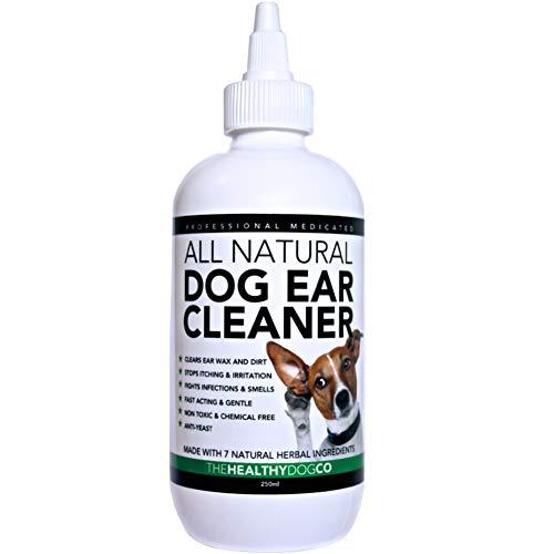 Ohrenreiniger für Hunde Auf Natürlicher Basis | 250 ml | Die Beste und Sicherste Lösung für Hunde mit bei Infektion, Hefepilzen, Ohrschmalz und Milben | Eliminieren Sie Gerüche & Juckreiz