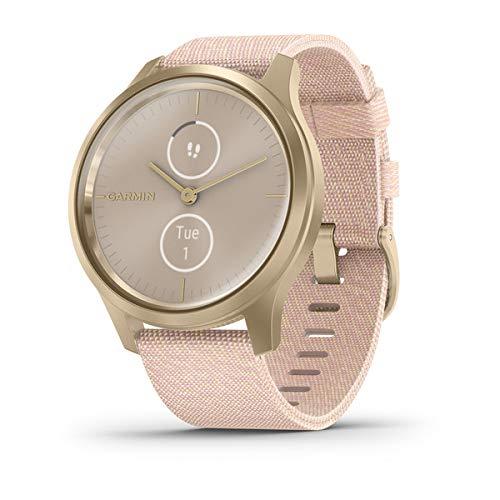 Garmin Vívomove 3 Style : Montre Connectée à Aiguilles Mécaniques et Double Écran Tactile Couleur avec Suivi GPS et Garmin PayTM - 42 mm- Light Gold/Nylon Blush Pink - Cadran 42 mm