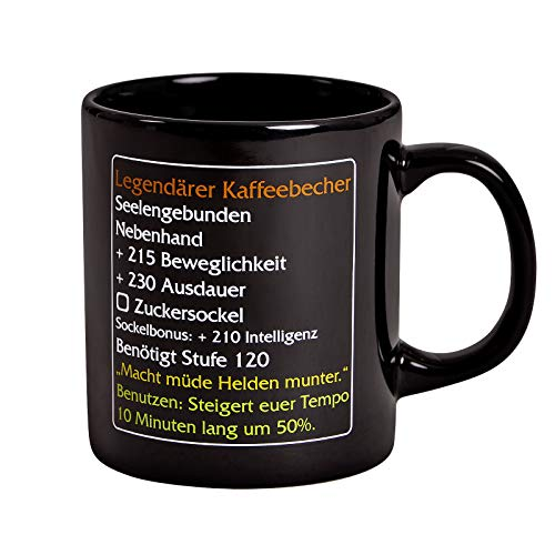 Elbenwald Epischer Kaffeebecher MMO Item Fan Tasse für World of Warcraft Fans mit Zuckersockel