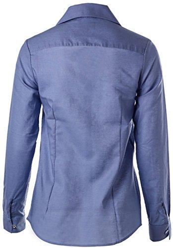 Dioufond Femme Chemise Col V à Manches Longues Coton Chemisier Shirt Tops Blouse DBluePhenix