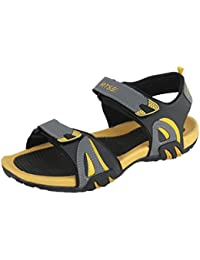 RTS Men TPR Nubuck Dark Grey & Yellow All Season Sandals & Floaters For Men - Size 8
