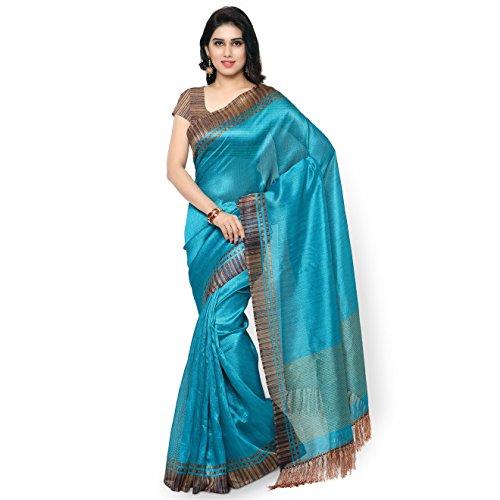 Rajnandini Women's Tussar Art Silk Saree (Joplnb3004, Teal Green, Free Size)