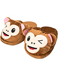 MWS Cozy Warm Plush Cute Monkey Faces Indoor Slip On House Slippers for Women