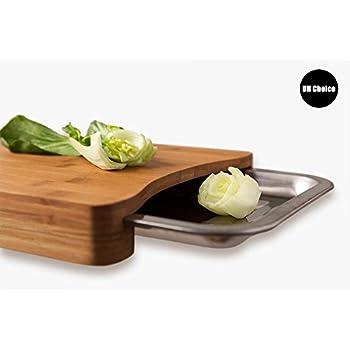 UH Choice Belle planche à découper pour la cuisine en bambou avec plateau en métal, 35,5cm x 25cm x 3,7cm, 1,19 kg