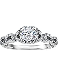 Silvernshine 0.56 Ct White CZ Diamond 10k White Gold FN Alloy Wedding Engagement Ring