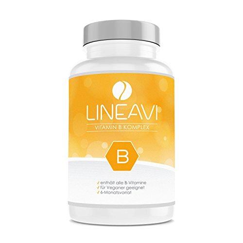 LINEAVI Vitamin B Komplex, alle B-Vitamine hochdosiert in einer Tablette, Vitamin B1, B2, B3, B5, B6, B7, B9, B12, in Deutschland hergestellt, glutenfrei, 180 vegane Kapseln (6-Monatsvorrat)