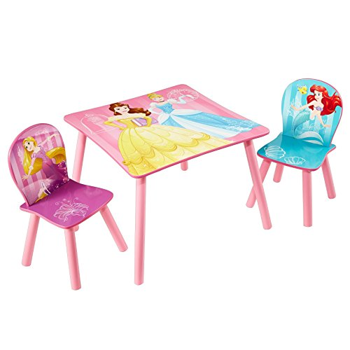 Disney Princess Princesse Table et 2 chaises par hellohome, Bois Dense, Rose, 63x63x45 cm