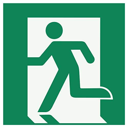 E005 Sicherheitsaufkleber für Rettungsweg Notausgang Links| Nachleuchtend nach DIN 67510 in grün | Selbstklebend Folie für Betriebe, Produktion & Kliniken | 150 x 150 mm | PlottFactory