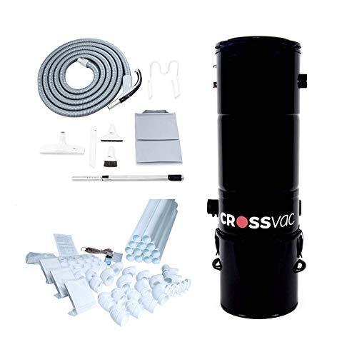crossvac Zentralstaubsauger Set Medium mit Staubsaugeranlage 2750, Schlauch-Set On/Off 9m, Einbau-Set für 3 Deco Saugdosen mit 15m Vakuumrohren, Fittings und Installationsmaterial