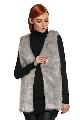 ZEARO Damen Faux-Pelz Weste stilvolle feine Jacke Lange Outwear Weste