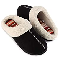 ULTRAIDEAS Women's Comfort Memory Foam Slippers with Warm Fleece Lining and Wool-Like Collar, Casual Micro Suede Slip on House Shoes with Indoor Outdoor Anti-Skid Rubber Sole, Black, Size 7-8(Medium)