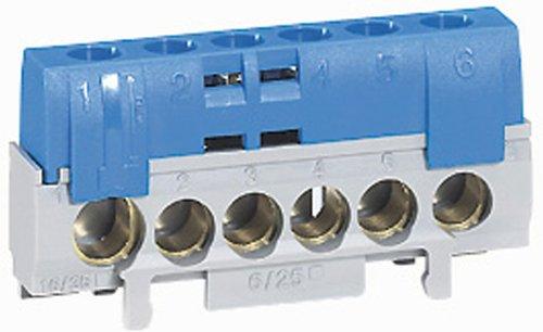 elektro klemmleiste Legrand LEG92784 Nullleiter-Klemmleiste, mit 5 Klemmen für 6-25mm breite Kabel, 1 Klemme für 10-35mm breite Kabel, Blau