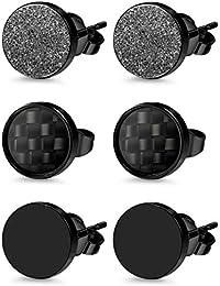 Milacolato 3 Pairs Stainless Steel Stud Earrings for Men Women Black Carbon Fiber Pierced