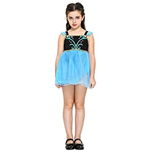 Katara - Disfraz de princesa Anna de Frozen Fever vestido corto de verano para niñas de 2-3 años, azul  (1759)