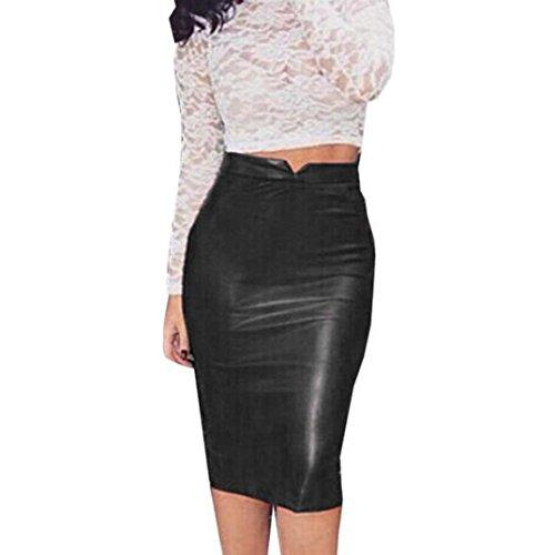 Kanpola Rock Frauen Leder mit hohen Taillen dünnes Partei Bleistift Kleid (2XL, Black) (Die Leder-bleistift-rock)