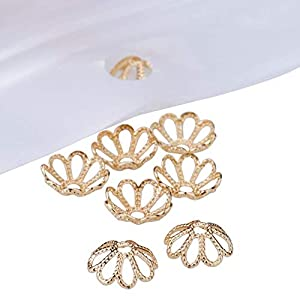 20 Perlenkappen Blütenblatt Messing Blume,golden,8×3 mm,Loch:1mm Perlen Sterne
