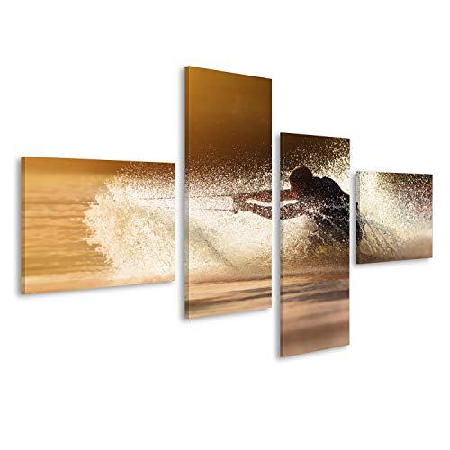 islandburner, Bild auf Leinwand Wasserskier-Silhouette, die Sich bei Sonnenuntergang schnell in Wasserspritzern bewegt. Wandbild Poster Leinwandbild