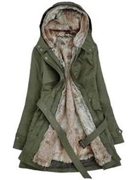 simpvale mujeres regla piel sintética de forro polar abrigo de invierno caliente