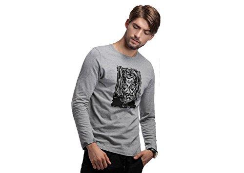 BOMOVO Herren BLAU GRUN Langarmshirt Bekleidung T-Shirt Grau