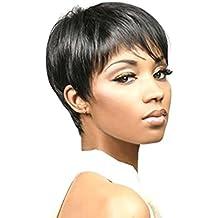 Meylee Pelucas Día desgaste resistente al calor mujer linda chica Natural corto peluca de pelo