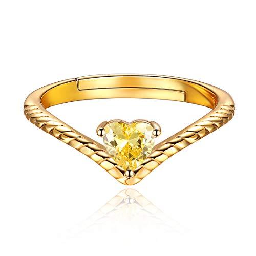ChicSilver 12 Monate Geburtstagsserie Nov. Gelber Topas, Luxus Damen-Ring Herz Verlobungsring Silber 925 Zirkonia