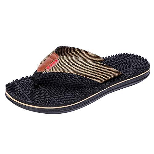 JiaMeng Herrenmode Casual Flache Flip Flops Hausschuhe Strandschuhe Outdoor Massage Schuhe Sommer Sandalen