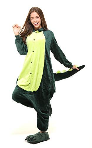 Ganzkörper Tier-Kostüm für Erwachsense - Plüsch Einteiler Overall Jumpsuit Pyjama Schlafanzug - Grün - Gr. M ()