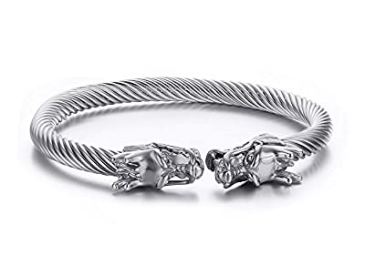 Vnox Mens Stainless Steel Opposite Dragon Head Wire Viking Cuff Bangle Bracelet,2 Color Choose