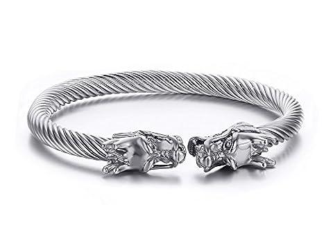 Vnox Mens Stainless Steel Opposite Dragon Head Wire Viking Cuff Bangle Bracelet Silver