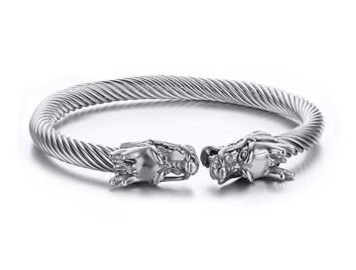Vnox Mens Stainless Steel Opposite Dragon Head Wire Viking Cuff Bangle Bracelet Silver
