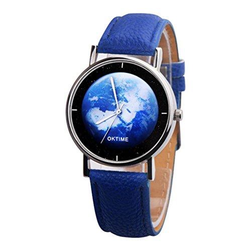 Uhren Dellin Art und Weise beiläufiges Nettes Unisex die Erde-Leder-Band-analoge Legierungs-Quarz-Uhr (Blau)