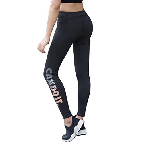 Pantalon Yoga Femme,Manadlian emmes Skinny Leggings Haute Taille éLastique Yoga Fitness Sport Capri Pantalons Noir