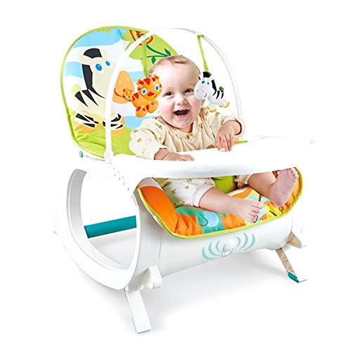 Baby Bucket Newborn to Toddler Rocker Cum Reclining Chair with Removable Tray & Soothing Vibrations and Music (Blue Zebra)