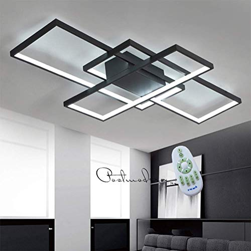 LED Ceiling Light Modern Dimmable Light with Remote Control Modern Acrylic Lampshade Aluminium Designer Light for Living Room Bedroom Dining Room Kitchen Office,Black