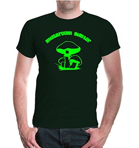 buXsbaum® T-Shirt Mushroom Hunter Bottlegreen-Neongreen