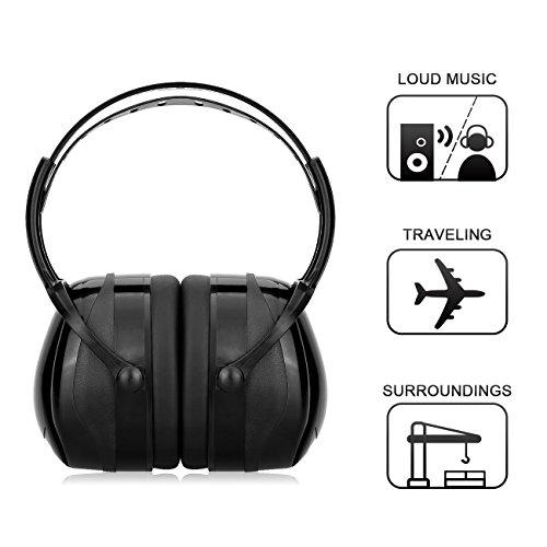 Kapselgehörschützer, Uten Sicherheit Ohrenschützer SNR bis 34dB Hörschutz, Gehörschutz mit verstellbarem Kopfbügel für Erwachsene und Kinder (Schwarz)