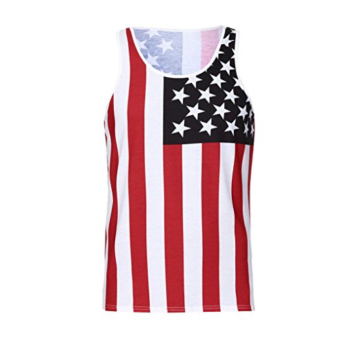 GreatestPAK Herren T-Shirt Casual American Flag Print Slim SleeveLess Tank  Top Bluse,Rot e8c0a105a1