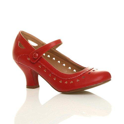 Damen Herzmuster Mary Jane Mittlerer Absatz Feinmachen Pumps Schuhe Größe 36 3
